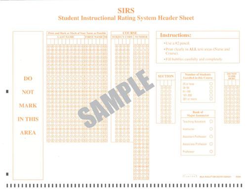Image of SIRS Header Sheet bubble form