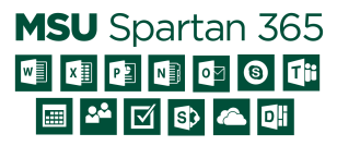 Icons of MSU Spartn 365 applications.