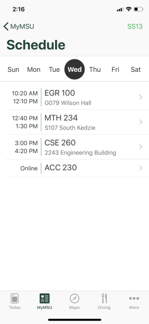 A screenshot of the Schedule page