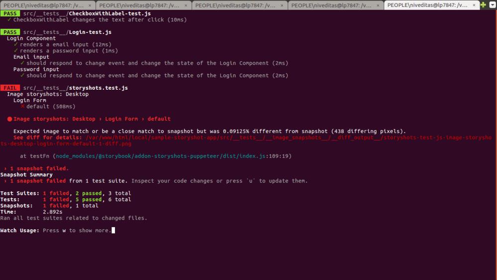 test run output