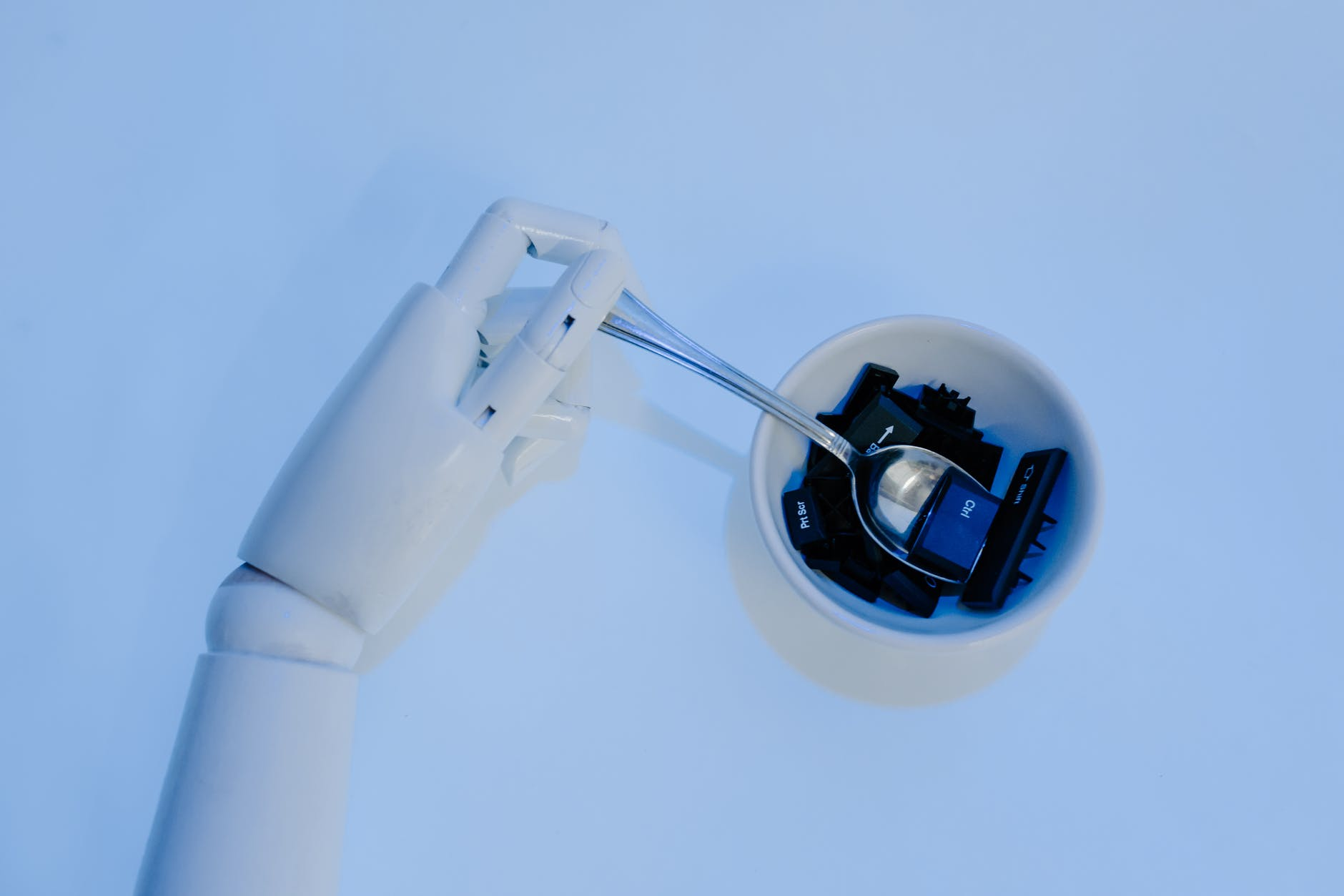 spoon on a robot s hand