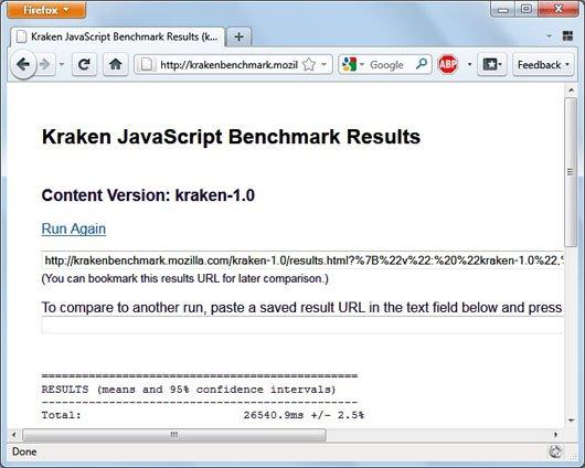 Firefox 4 beta 6 kraken javascript benchmark