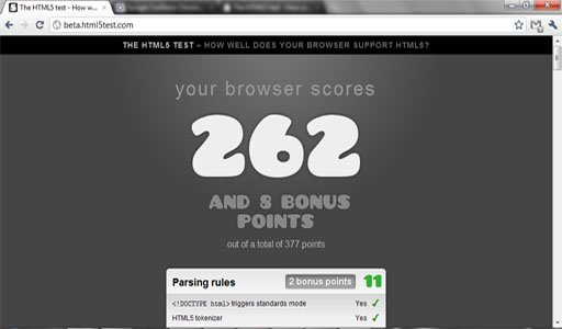 Google Chrome 7 HTML 5 Test