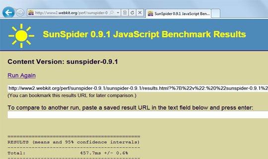 IE9 beta sunspider javascript benchmark