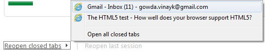 IE9 reopen closed tabs