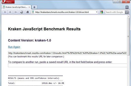 Opera 10.7 kraken javascript benchmark