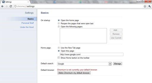 chrome 7 UI tabs settings