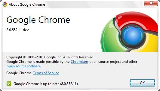 Google Chrome 8 dev version