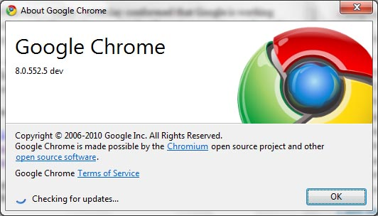google chrome 8 dev version