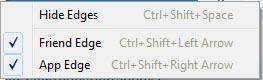 rockmelt browser edges option menu shortcut
