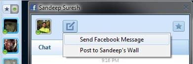 rockmelt browser facebook send message or write on friend wall