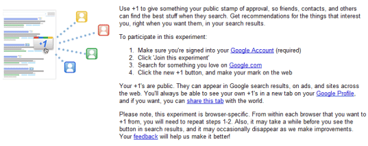 google +1 experiment pre-requisites