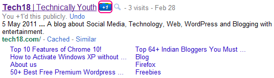 tech18 Google Search with +1 button