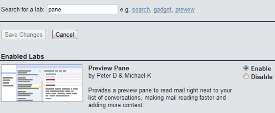 Gmail - Settings -Preview Pane