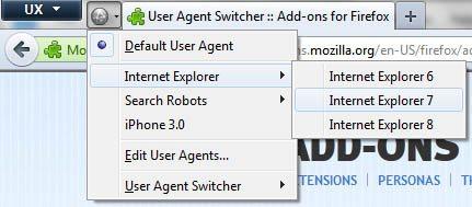 Firefox User Agent Switcher Click