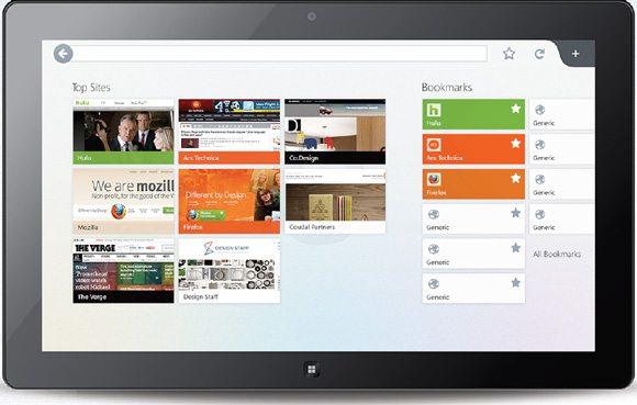 Firefox Metro UI - Start Screen Mockup