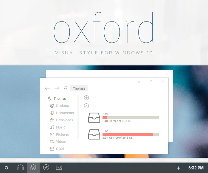 oxford windows 10 theme