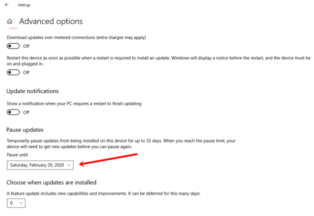 Stop Windows 10 Automatic Updates From Settings