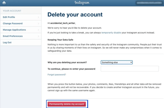 Premanently delete Instagram account
