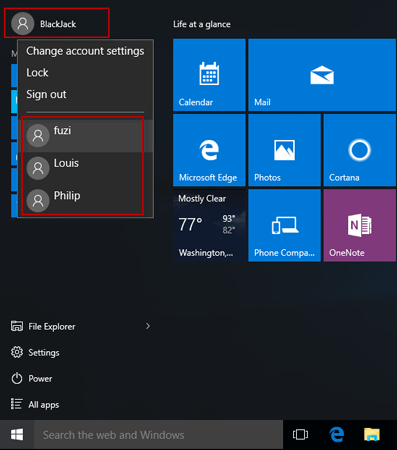 Switch Users Through Windows 10 Start Menu