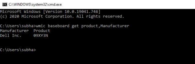 motherboard info cmd