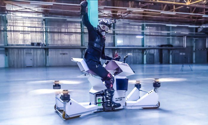 Hoversurf Scorpion-3 S-3 Hoverbike Russia Prototype Pilot Rider Crossbike Suit Helmet Flying Future Vehicles Drones