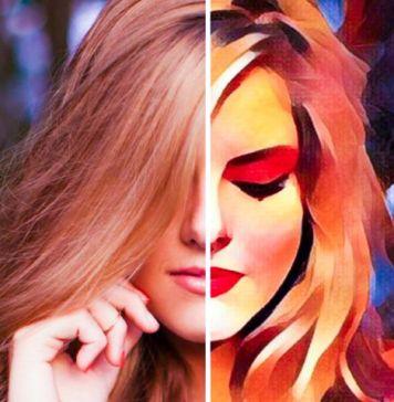 Prisma AI Photo Editor Example Woman Posing Transforming into Painted Painting