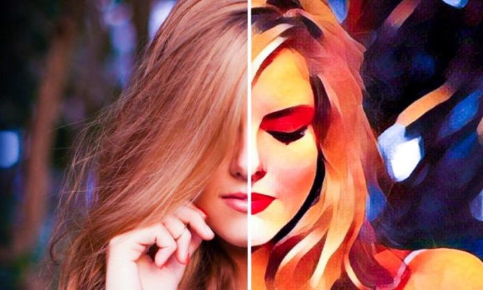 Prisma AI Photo Editor Example Woman Posing Transforming into Painted Painting