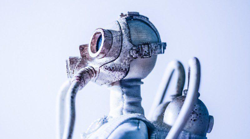 Robot Toy Close Up AI Asimov Laws Robotics Blue White Background