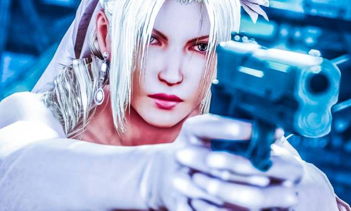 Nina Williams Married Wedding Mafia Outfit in Tekken 7 Pistol Holding Female Fighter Game