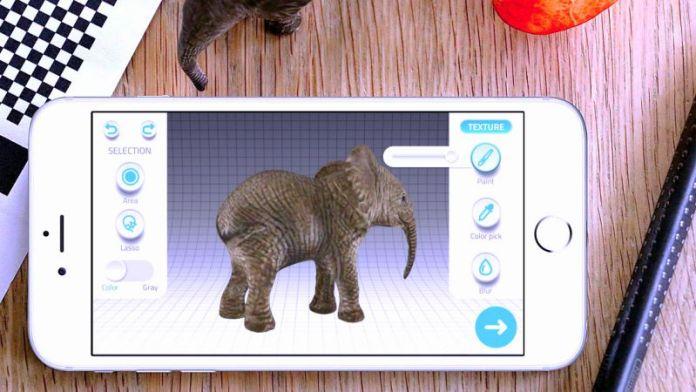 Qlone 3D Scanning App Elephant Toys Digitalize AR VR Objects Export Model Blender Unity B2B B2C Entertainment Games Education Crop