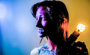Lateral Thinkers Querdenker Alarm Woman Shooting Light Bulb Tattoo Face Paint Make Up Studio Colors