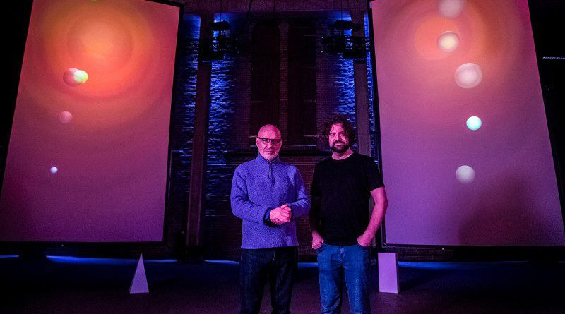 Brian Eno and Peter Chilvers flower garden of sound in Amsterdam Bloom Open Space Crop
