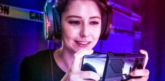 Republic of Gamers Phone Asus Girl Holding Gaming Smartphone