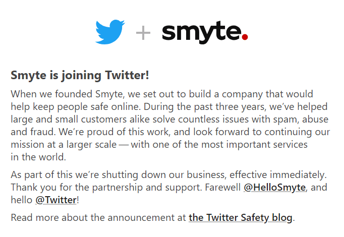 Smyte Homepage Goodbye Message