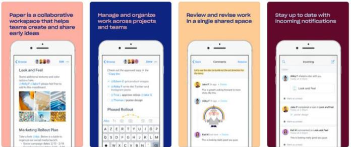 Note taking keeping apps android ios dropbox paper app