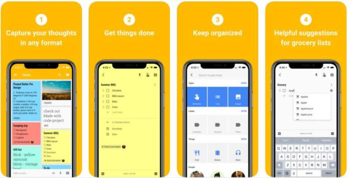 Note taking keeping apps android ios google keep