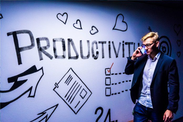 Productivity Apps Open Source Tools Communicator Solution Man Walking Talking Phone Business