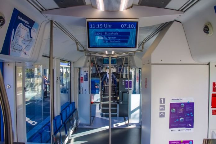 Alstom Coradia iLint Hydrails Hydrogen Train Rural Germany Prototype Green Commute Travel Inside Interior View Photo