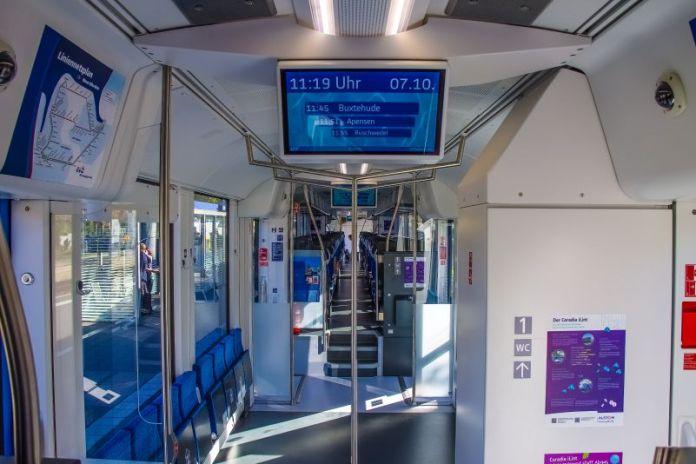 Alstom Coradia iLint Hydrails Hydrogen Train Rural Germany Prototype Green Commute Travel Inside Interior View Photo