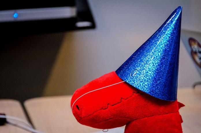 Dinosaur Party Hat Retirement Party Employee Dedication Service Thank you Appreciation Token Management Article Leadership Dino Red Plushie Bue Hat