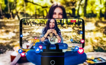 Pivo Motorized Smartphone Camera Gadget Equipment Turning Around Automatic Tracking Video Recording Photo Create GIF Files Moving Streaming Influencer Gear Smiling Woman Girl Sitting