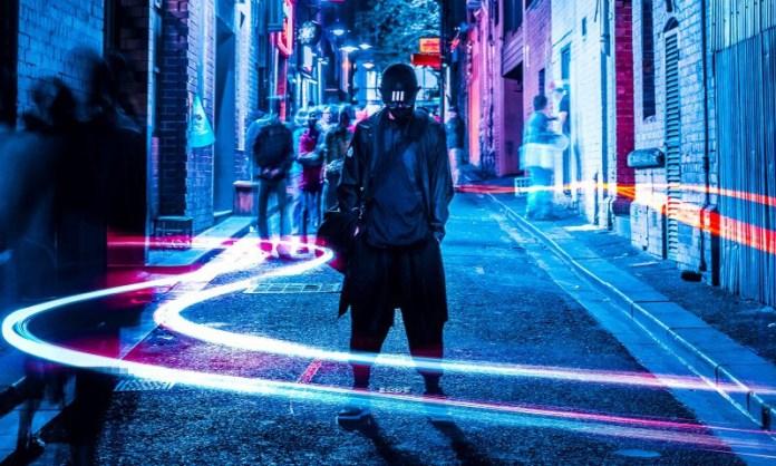 Man Standing Outside Night Urban Fashion Lights