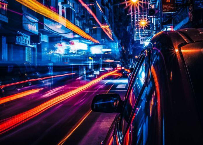 Car Chase Cyberpunk City Urban Photo Future Night LIghts AI Tech Interview