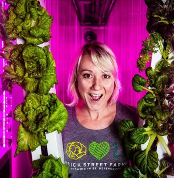 Shannon O'Malley Brick Street Farms Growing Produce Vertical Farming
