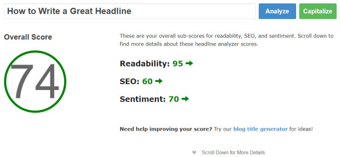 Blogging Title Headline Analyzer Tool How To Tutorial Screenshot 3