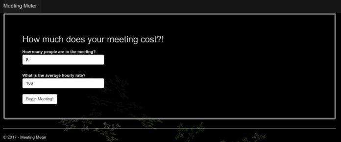 Meeting Meter Tool Calculator Screenshot