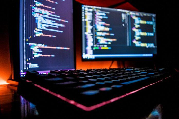 Desktop PC Screens Display Coding Night Dark RGB Color Keyboard Gamer Setup
