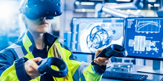 Mixed Reality Engineering Planning VR MR AR Woman Female Worker Industrial Use Drawing Vodafone Business AWS Training Development Coding Programming