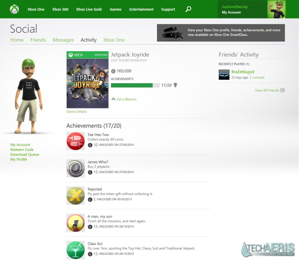 XBL Achievements Website Current View - Game Detail Screenshot